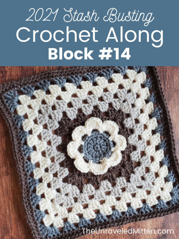 2021 Stash Busting Crochet Along block #14 designed by Love Life Yarn. This simple floral granny square is easy to make and is a fun way to jazz up the classic granny square.