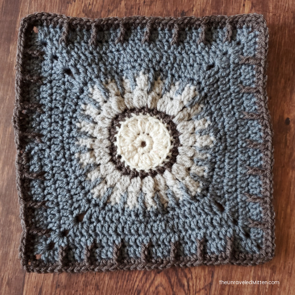 Lavender Fields Crochet Blanket Square by The Loopy Lamb. Block 13 of the 2021 Stash Busting Crochet Along on The Unraveled Mitten