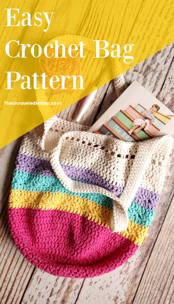 """Rainbow bottomed crochet market bag flat lay with book and yarn. Text overlay reads """"easy crochet bag pattern"""""""
