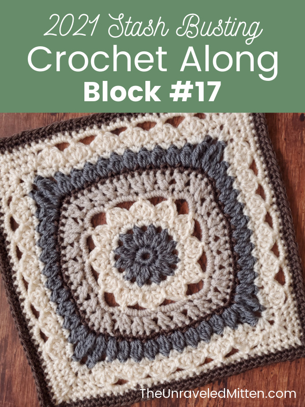 Block 17 of the 2021 Stash Busting Crochet Along on The Unraveled Mitten. The Secret Garden Square designed by Kirsten Holloway Designs is a 12 inch floral blanket motif perfect for your next blanket project.
