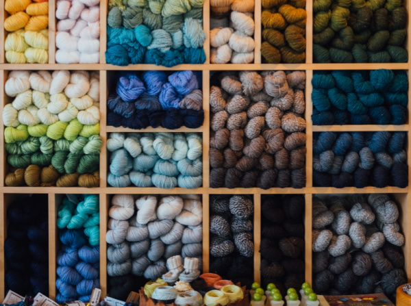 Organize your yarn shelves to get color inspiration.
