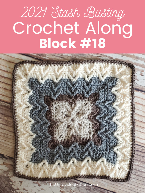 2021 Stash Busting Crochet Along Block #18 by Raffaella Designs. You'll love this textured crochet blanket square! | The Unraveled Mitten