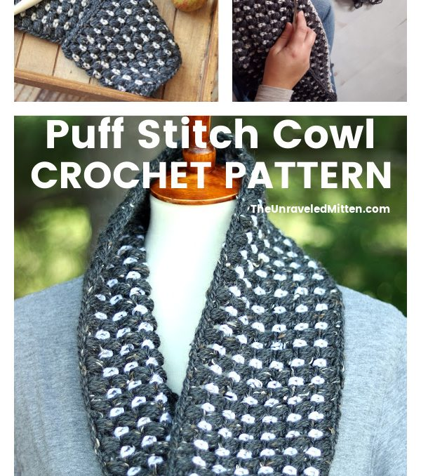 The Yuba Crochet Cowl is an easy crochet pattern featuring puff stitch stripes.
