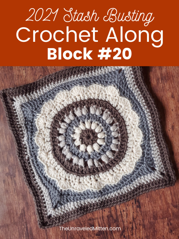 This sunflower inspired square features a textured puff stitch center. This is the last pattern in the 2021 Stash Busting Crochet Along hosted by The Unraveled Mitten