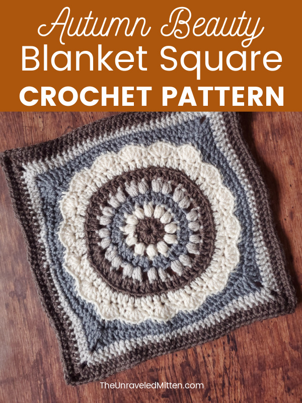 A textured puff stitch center stands out on this floral inspired granny square crochet pattern. Add this blanket square to your next sampler afghan!